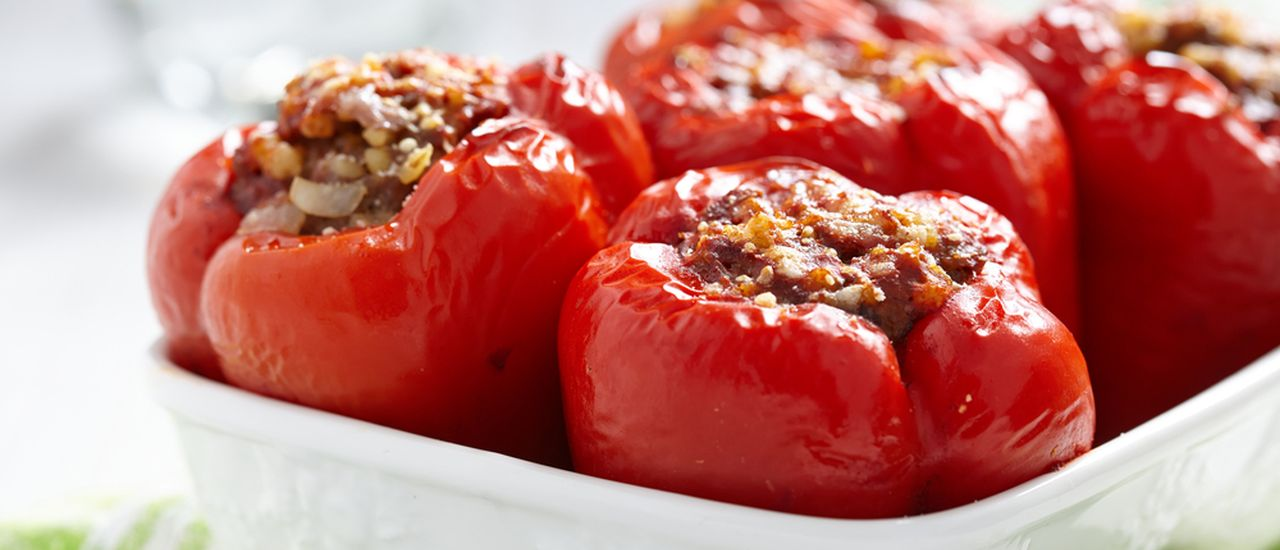 Vegetarian stuffed and baked peppers